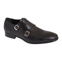 Zapato de Hombre Elegante Con Hebillas Piel Negro. JR Almansa