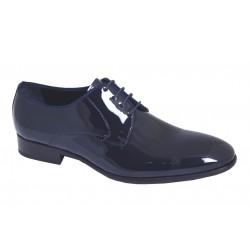 Zapato Novio Piel Charol Azul y Suela de Cuero. Almansa