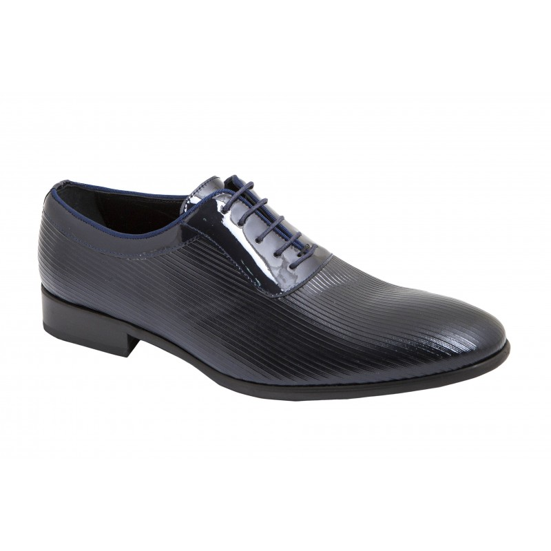 Zapato Piel Charol  Azul. Jr Almansa