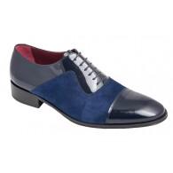 Zapato Elegante Caballero en Piel Charol y Ante color Azul