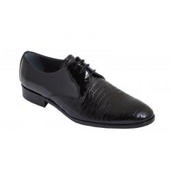 Zapato de Hombre de Vestir Novio-Ceremonia Piel Charol Negro Pala Grabada. Fenatti