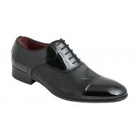 Zapato Hombre Boda elegante Novio Piel-Grabado Negro Charol.