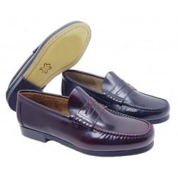 Zapato Castellano Piel Flor-Antic Burdeos.