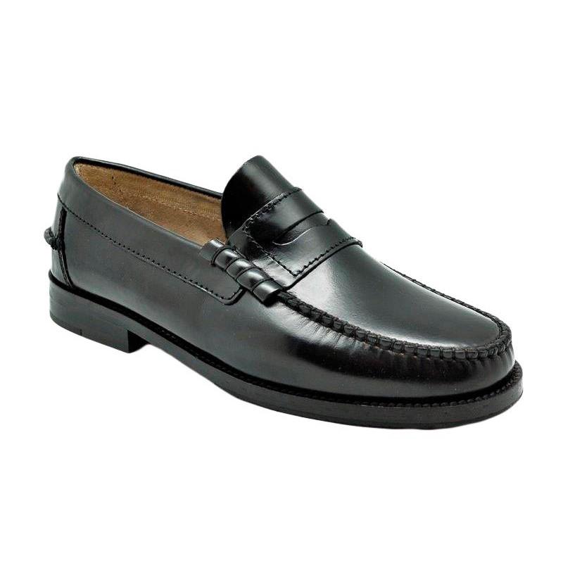 Zapato Castellano Piel Flor-Antic Negro.Urban Jungles