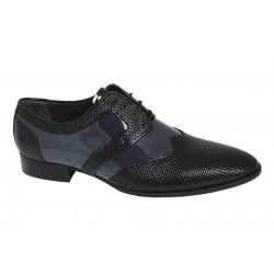 Zapato de Hombre Original para Vestir Elegante Piel Charol-Grabada Negro-Azul. Fenatti