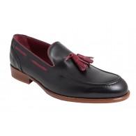 Zapato Elegante Hombre Piel Negro y con Borlas.