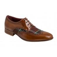 Zapato Hombre Elegante y Joven en Piel y Cuadros Escoces Textil.
