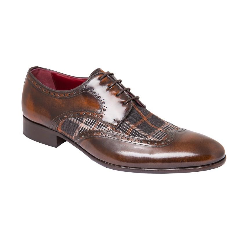Zapato Hombre  Elegante en Piel y Cuadros Escoces Textil.