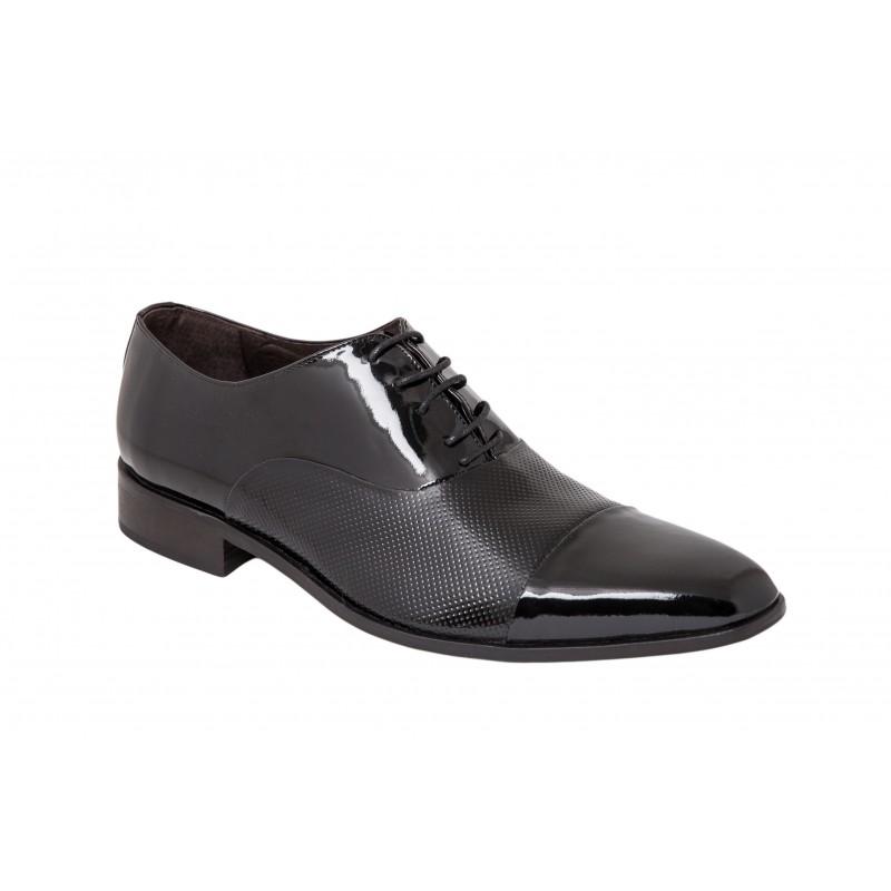 Zapato de Vestir Piel Charol Negro. Almansa