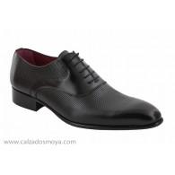 Zapato Vestir Piel Grabado Negro. JR Almansa