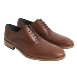 Zapato Elegante de Piel Castaño y Suela de Cuero. Almansa