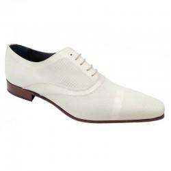 Zapato Hombre/Novio Piel Charol Marfil. Color Blanco. Mil Puntos.