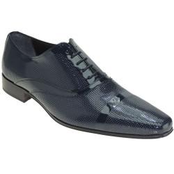 Zapato Novio-Hombre de Vestir Boda Piel Charol Azul con Mil Puntos.