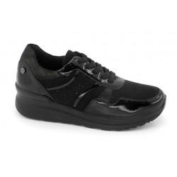 Zapato Cordón Confort Cuña Negro. Amarpies