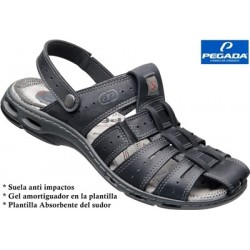 Sandalia Sport Gran Calidad Piel Negro.Pegada
