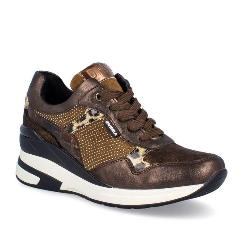 Sneaker Combi Mujer Cuña Marrón. D'Angela