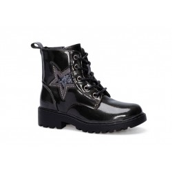 Botín Militar Estrella Niña Negro Con Cremallera. Crecendo