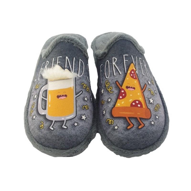 """Zapatillas de estar por casa de Hombre """"Friend Forever"""" Cerveza y Pizza. Garzon"""