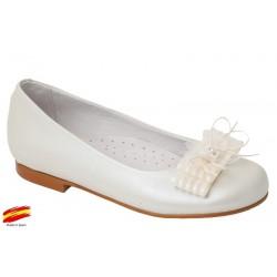 Zapato Comunión-Ceremónia de Niña Piel Beig.