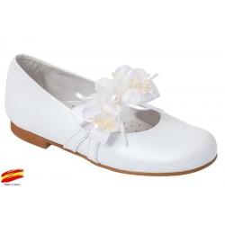 Zapato Comunión-Ceremónia de Niña Piel Blanco.