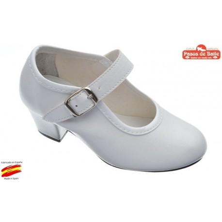 Zapato de Flamenca Blanco.Pasos de Baile