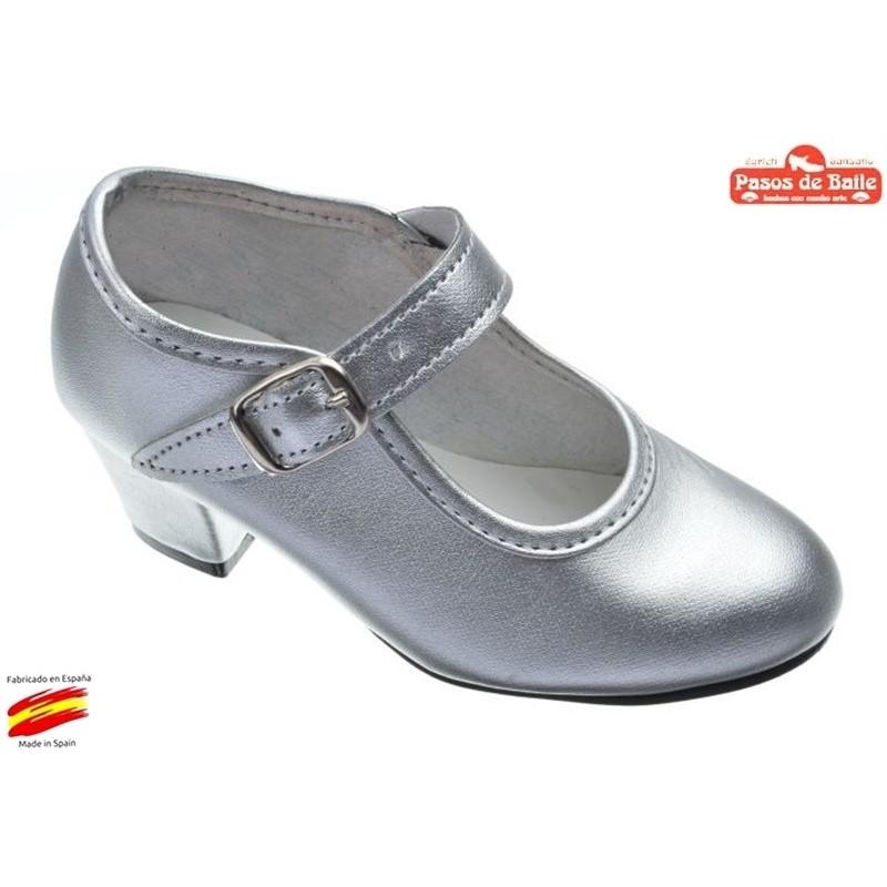 Zapato de Flamenca Plata.Pasos de Baile